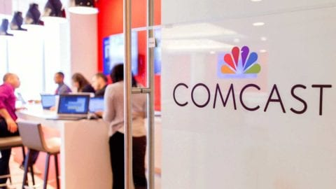 Comcast signage on office door