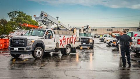 Xfinity branded truck.